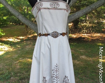 Vintage BOHO SUNDRESS, Embroidered Cotton Hippie Chic Dress, 90s Indie Bohemian, wooden & leather belt, Khaki, Sequins, flared full skirt, M
