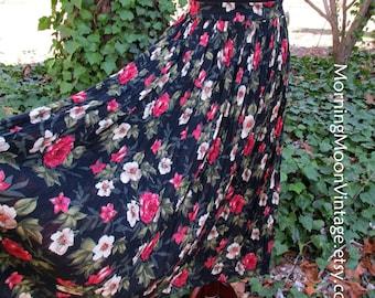 Vintage BOHO SKIRT, GAUZE Broomstick skirt, Black Maxi midi, 90s grunge, red pink roses white flowers, Hippie skirt, Peasant Gypsy Festival