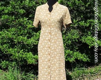 Vintage BOHO DRESS, Rayon GAUZE, Button-Down Midi, Ditzy Floral Grunge Dress, 90s does 30s, Golden Yellow Tan, Hippie Chic, April Cornell, S