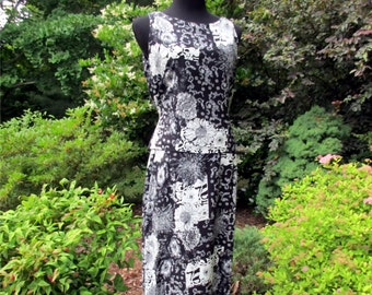 Vintage 90s Boho Dress, BLACK WHITE MAXI, tropical floral tribal print India rayon, sleeveless, peplum, indie bohemian hippie chic, soft 6/8