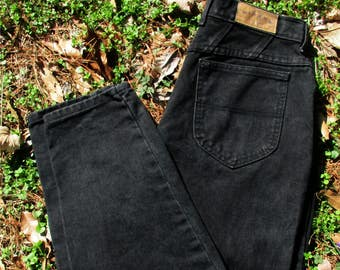 VINTAGE BLACK JEANS, 90s Lee Riders, high-waisted Jeans, mom jeans, relaxed fit, black Denim, hipster Retro, tapered leg, waist 32 inseam 31