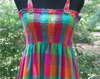 RAINBOW SUNDRESS, Vintage Boho OVERALL dress, bright rainbow plaid checks, India Cotton Madras, babydoll dress, Hippie festival sundress, L