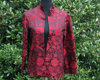 Brocade ASIAN JACKET, Vintage Boho Gothic, Red Embroidery, Black Satin, CHINESE print floral medallions, Stand Up Mandarin Collar, lined, sm