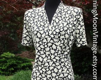 Vintage 80s Dress, FLORAL PRINT MIDI, Boho Retro Feminine, 80s does 40s, Black Cream roses flowers, wrap dress bodice, cute buttons, summer