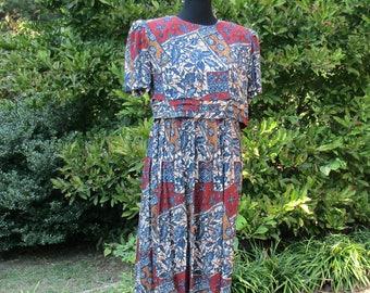 Tribal Print MAXI, Vintage 90s BOHO DRESS, Hippie Bohemian batik floral print maxi, Grunge Retro festival, long & flowing dress