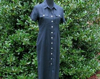 BLACK LINEN Dress, Vintage 90s Boho Grunge, Button-Down Maxi Dress Duster, Rayon/Linen elegant boho dress, minimalist dress, shell buttons S