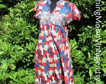 Vintage BOHO DRESS, Embroidered India Cotton? Red Blue Denim trim, short hippie dress, cotton gauze tent dress, vintage festival dress 42/12