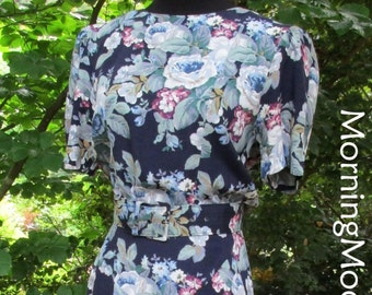 Vintage 80s DRESS, New Romantic MIDI, Belted Dropped Waist Pleated skirt, floral print rayon navy blue Flowers, neo-Victorian Retro feminine