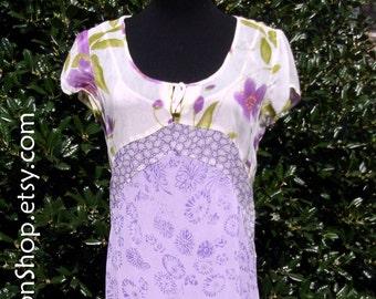 Gauze Maxi Dress, VINTAGE 70s, Hippie Boho Festival Dress, India Rayon Gauze Midi, Lavender Purple & White, flowers floral, Small, BEAUTIFUL