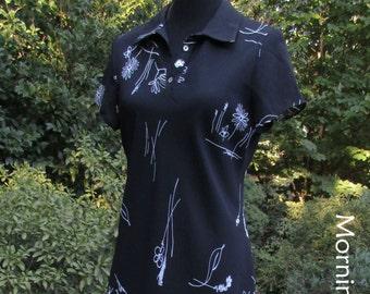 SHEER BLACK DRESS, Maxi Long Midi, Vintage 90s Boho, black/white flower print daisies, long flowing gauze, bohemian grunge, hippie witch