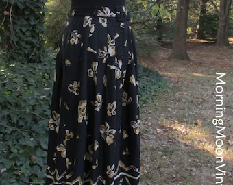 Vintage 90s BOHO SKIRT, BELTED Midi Maxi, Black yellow gold Floral Tribal Print Rayon, Button Down, Pleated skirt, Pockets! Indie Chic, M