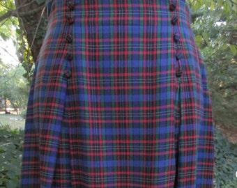 Vintage MAXI SKIRT, 80s High Waist Skirt, Bright Blue PLAID Red Green Black, Tartan print rayon, cute buttons, clueless Preppy Retro hipster