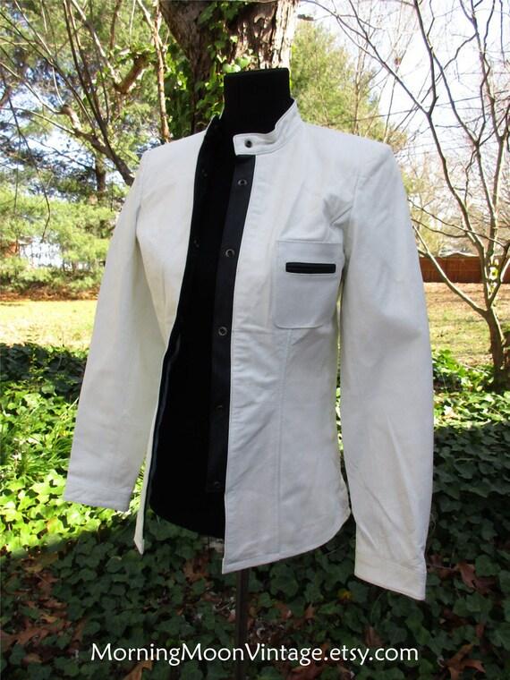 WHITE LEATHER JACKET, Vintage Moto Jacket, Short L