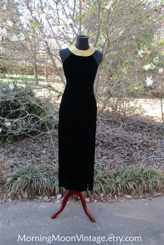 BLACK VELVET MAXI Dress, Vintage evening gown, Bea