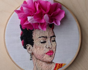 Frida Kahlo Hand Embroidered Thread Painting Portrait