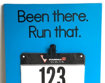 Running Medal Holder Race Bib Display, Been There Run That, Ready to Ship