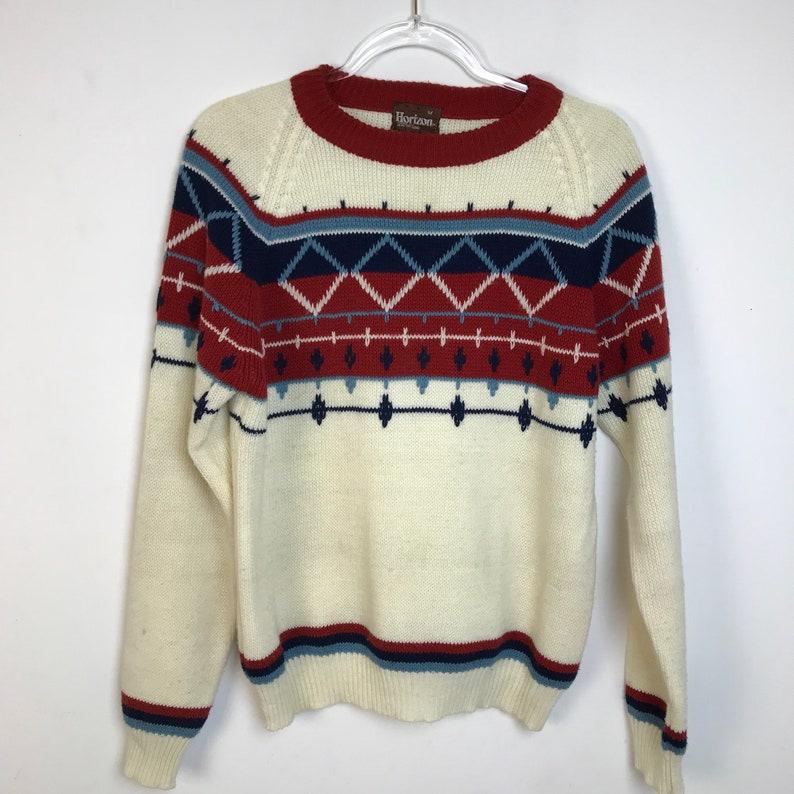 80/'s Sweater Men/'s Medium Geometric Design Vintage Man Ski Sweater