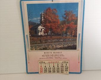 1958 Wall Calendar, Vintage Advertising,1950's Decor,Farmhouse Decor,Advertising Giveaway, Calendar,Birthday,Mid Century,Cullectibles