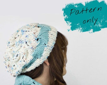 Slouchy hat PATTERN knit - Quick knitting pattern - Simple knit hat pattern for women - Chunky knitting pattern - Popular knitting pattern