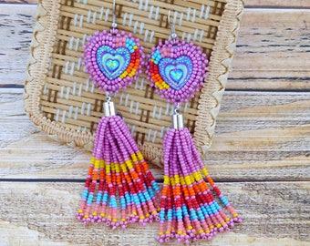 Beaded tassel earrings, hippie earrings, tassel jewelry