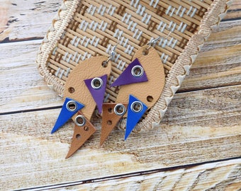 Leather earrings, colourful earrings, gift under 15