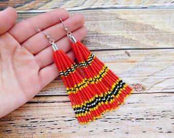 Red beaded tassel earrings, tassel earrings, beaded tassel earrings, beaded fringe earrings, red tassel earrings, red statement earrings