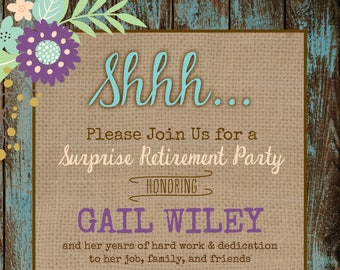 Rustic Surprise Retirement Party Invitation Digital File Etsy