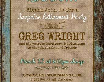 Rustic Surprise Retirement Party Invitation DIGITAL FILE