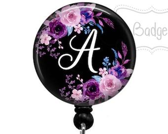 Retractable Badge Holder - Floral Badge Reel - Purple Floral Monogram Badge Holder - Retractable Badge Reel - Initial Badge Reel - 0179