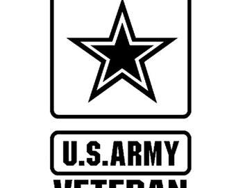 US Army Veteran Military vinyl car decal yeti decal tumbler decal laptop decal window decal - free shipping