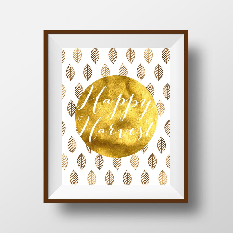 Happy Harvest Fall Art Print Faux Foil Harvest Autumn   Etsy