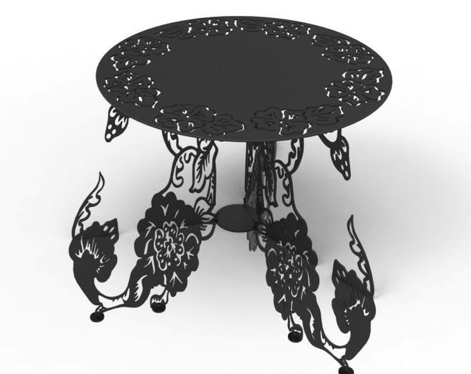 Metal garden table plans for outdoor use - - metal plant stand - - outdoor metal table plasma or laser cut