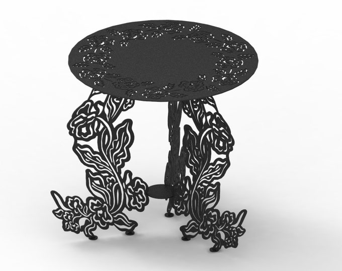 Metal garden table or plant stand plans for outdoors - GT2, plasma or laser cut, dxf files