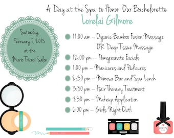 PRINTABLE Bachelorette Party Weekend Invitation/Itinerary SPA DAY - 4 Colors! - Custom Printable, Various Sizes