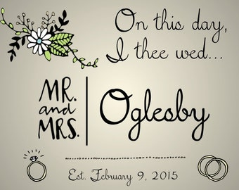"""PRINTABLE """"On This Day, I Thee Wed"""" Wedding Date Sign - 3 Colors! - Custom Printable, Various Sizes"""