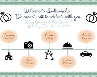 PRINTABLE Wedding Weekend Itinerary LACE - custom printable 8.5x11""