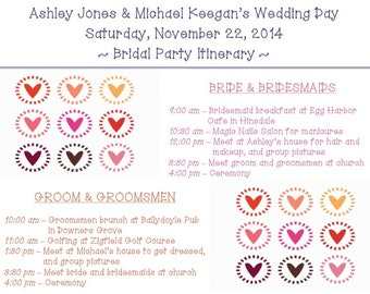 PRINTABLE Wedding Weekend Itinerary HEARTS - custom printable 8.5x11""