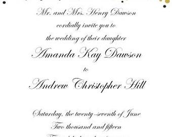 PRINTABLE Gold Foil Confetti Design Wedding Invitation and RSVP Set - 2 Colors