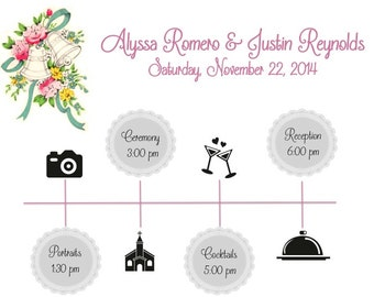 PRINTABLE Wedding Weekend Itinerary WEDDING BELLS - Custom Printable 8.5x11""