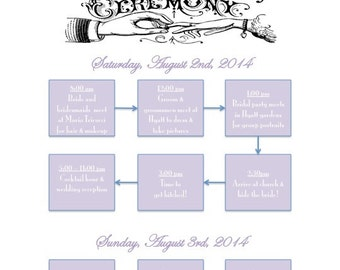 PRINTABLE Wedding Weekend Itinerary Flowchart - custom printable 8.5x11""