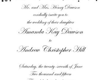 PRINTABLE Silver Foil Confetti Design Wedding Invitation and RSVP Set - 2 Colors