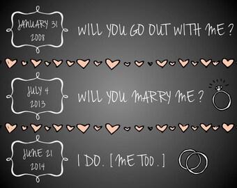 "PRINTABLE Chalkboard Anniversary Dates Sign ""I Do, Me Too"" - Custom Printable, Various Sizes"