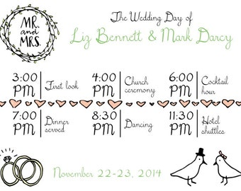PRINTABLE Wedding Weekend Itinerary HEART TIMELINE - Any Color Font! - Custom Printable, Various Sizes
