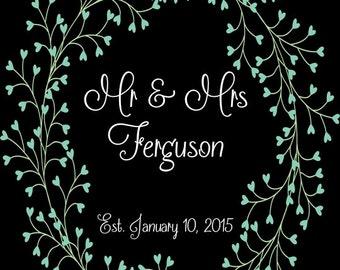 PRINTABLE Mr & Mrs LAST NAME Wedding Date Sign - Blue Heart Flowers - 2 Colors! - Custom Printable, Various Sizes