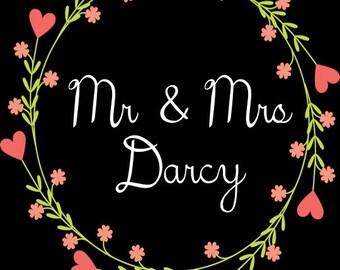 "PRINTABLE Mr & Mrs LAST NAME Wedding Date Sign - Custom Printable, 8.5x11"""