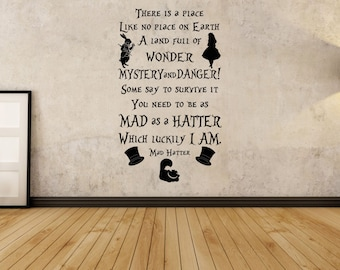 There is a place, inspired by, Alice in Wonderland, Mad Hatter, Quote Wall decal