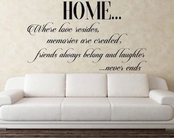 Home, where love resides, memories are created, friends always belong, and laughter never ends, quote, Wall Art Vinyl Decal Sticker