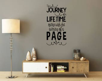 The Journey of a Lifetime, reading, stories, books, library, Wall Art Vinyl Decal Sticker