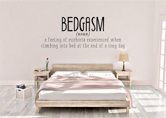 Bedgasm, bedroom decor, fun quotes, bedtime, Wall sticker, vinyl decal