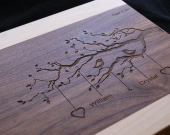 "Engraved Cutting Board Wedding Gift Personalized Cutting Board Walnut 15""x11""- Anniversary Gift, Wedding Gift, Housewarming Gift"